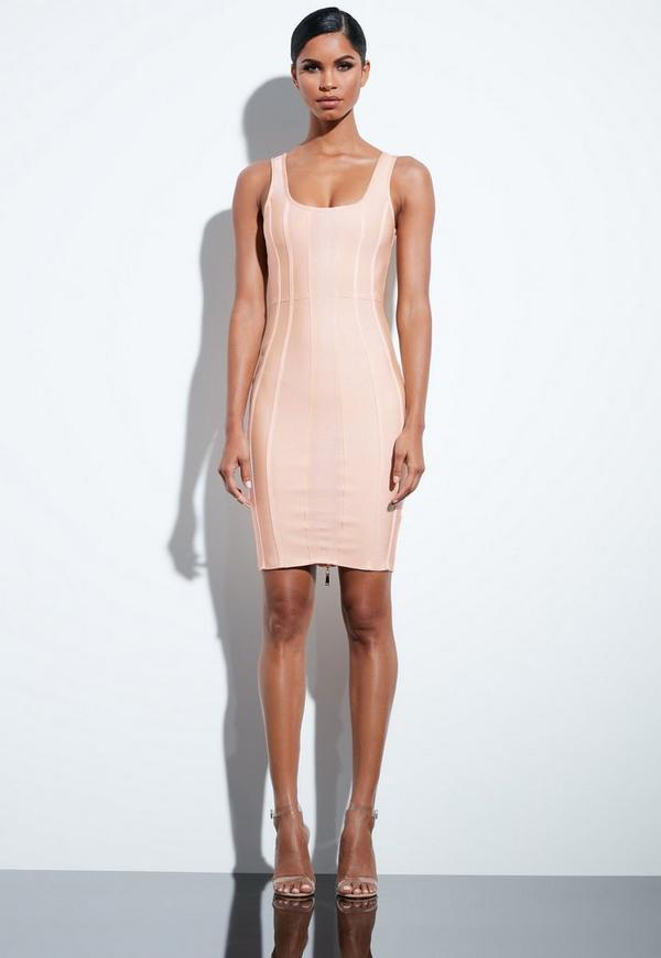0224dba0678d0 Peace + Love Nude Bandage Midi Dress