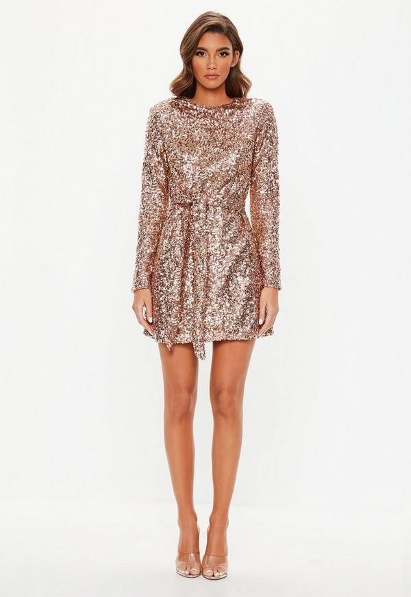 622ae142bf Peace + Love Silver High Neck Long Sleeve Beaded Mini Dress ...