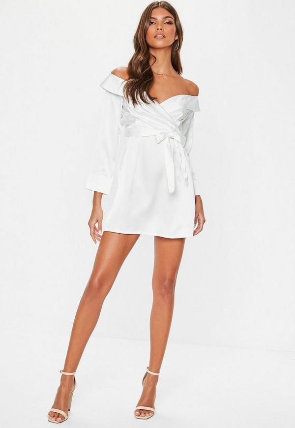 White Satin Bardot Tie Dress Missguided