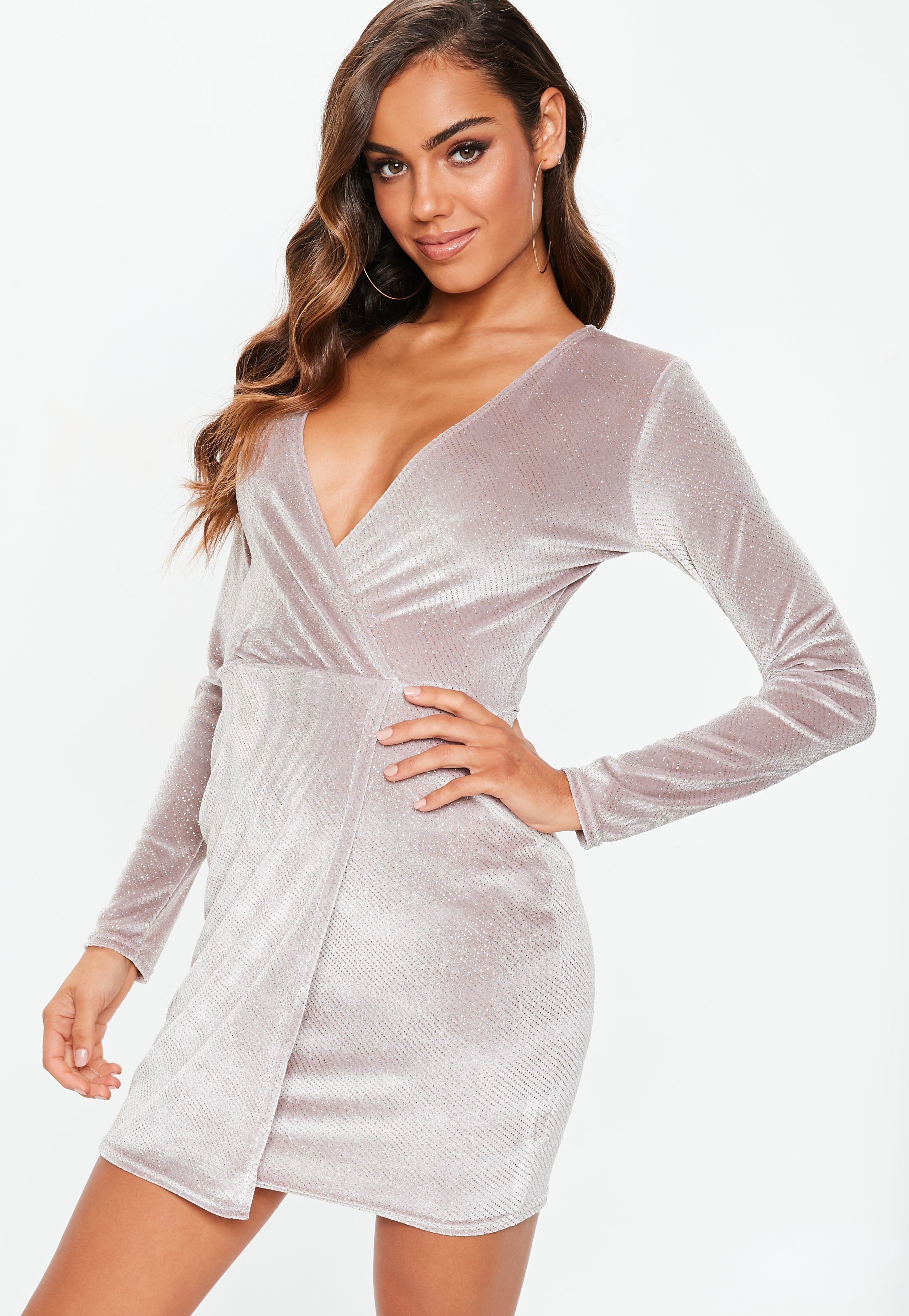 22865b17897 Pink Velvet Glitter Wrap Front Dress