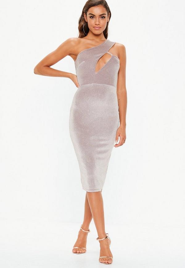 Pink Velvet Glitter One Shoulder Midi Dress Missguided