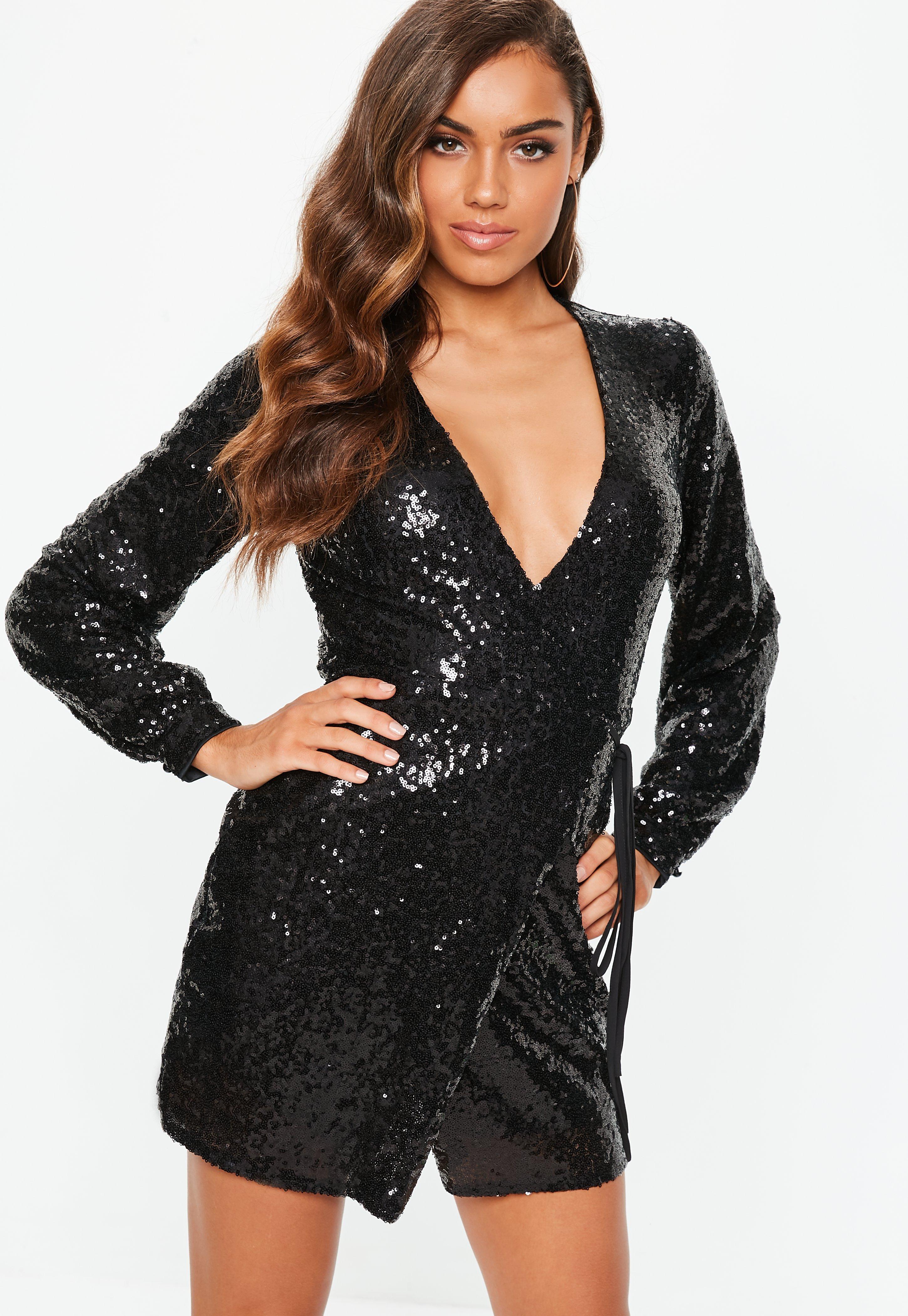 f1cb2180f9d8 Black Sequin Wrap Mini Dress | Missguided