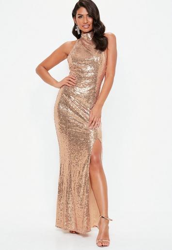 Gold Sequin Choker Maxi Dress Missguided Ireland
