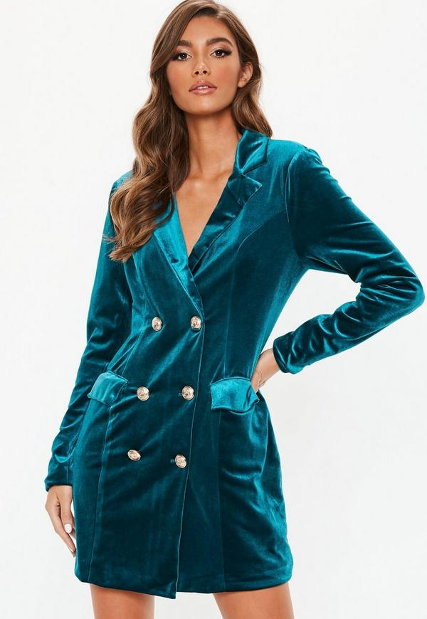 Teal Velvet Double Breasted Blazer Dress Missguided