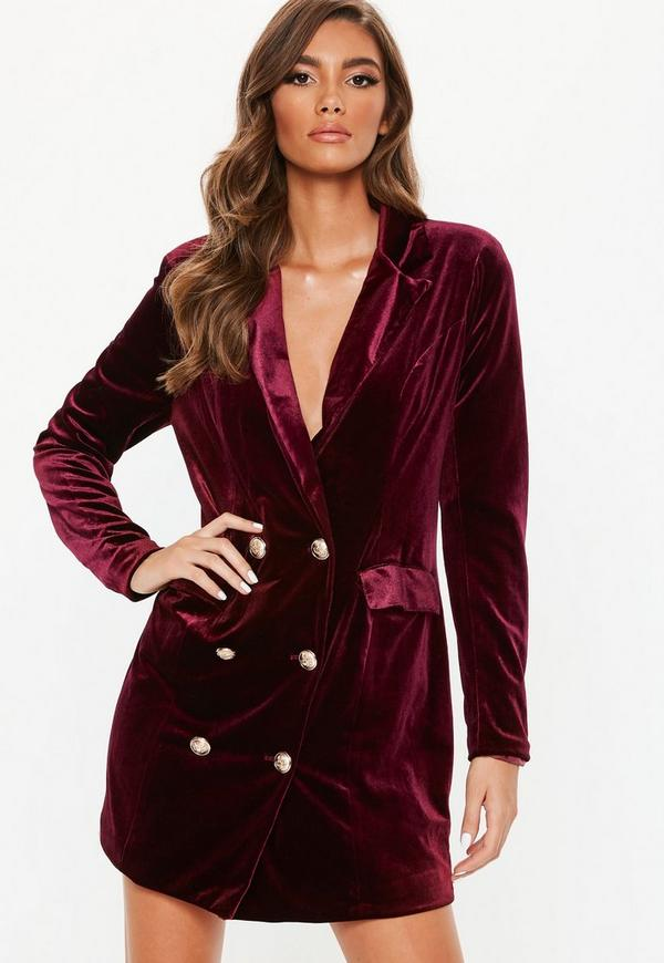 Burgundy Double Breasted Velvet Blazer Missguided