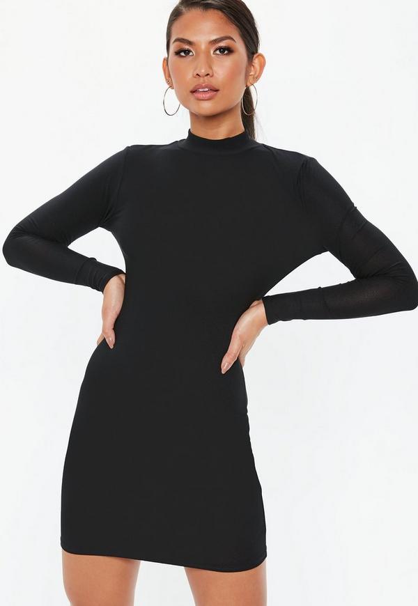 Black High Neck Mini Dress Missguided