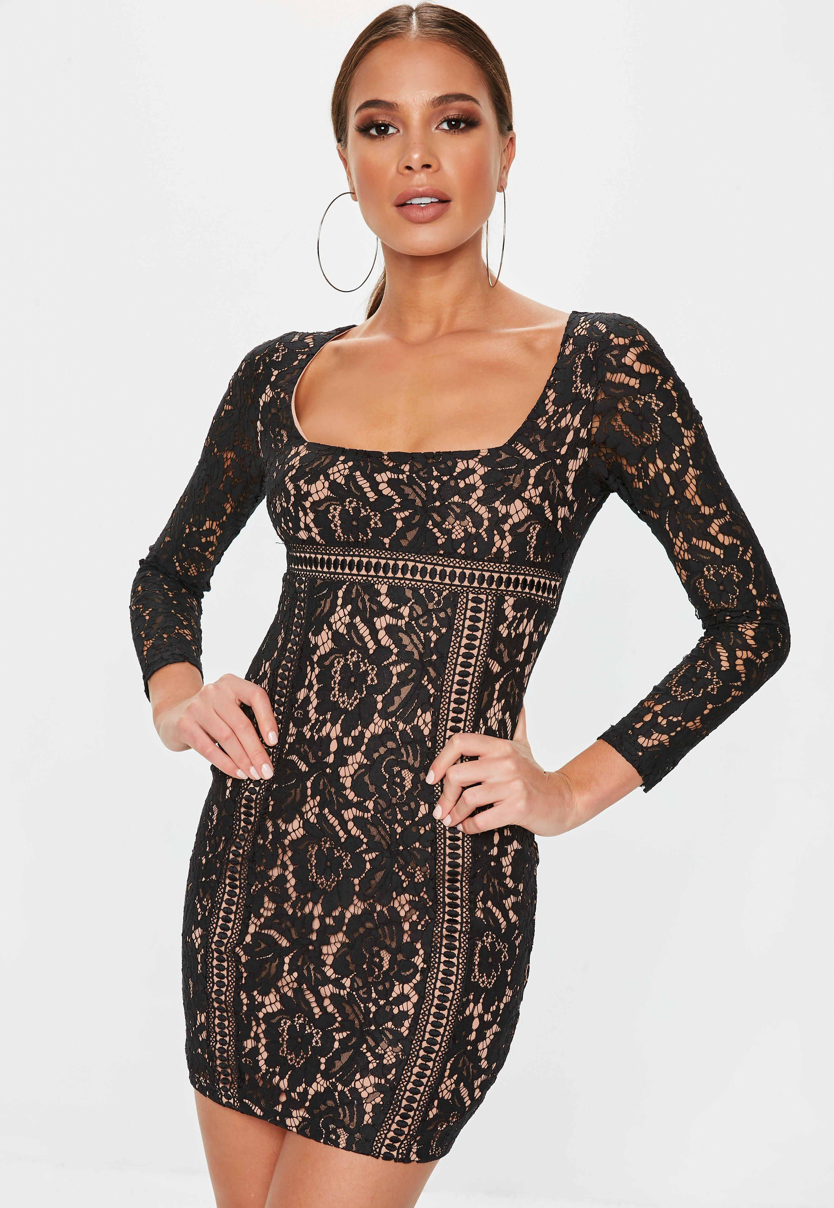 fc7d36be0376 Black Long Sleeve Lace Overlay Mini Dress | Missguided