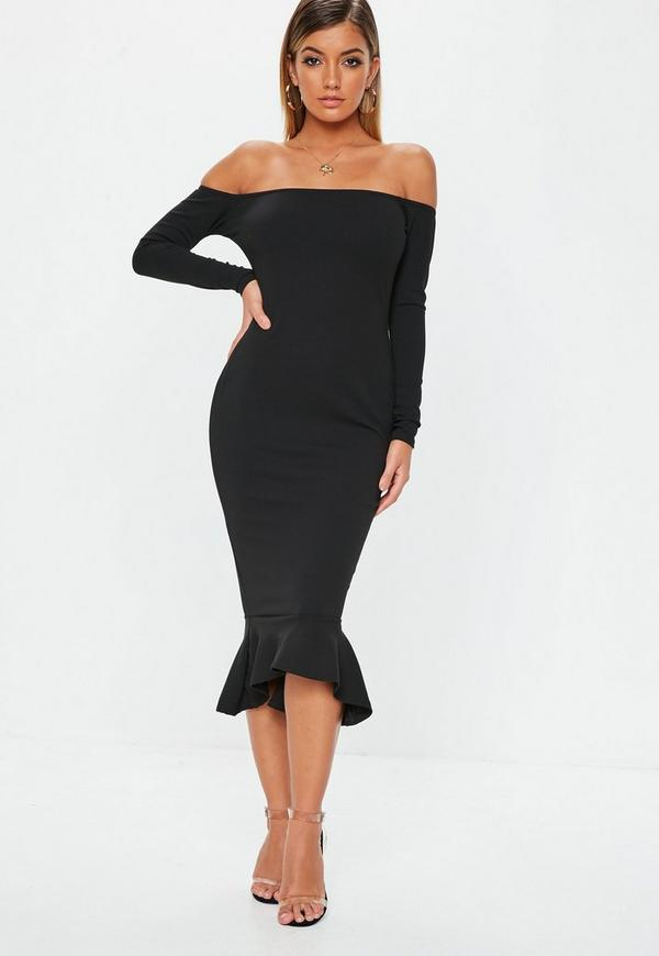 Black Bardot Fishtail Midi Dress Missguided