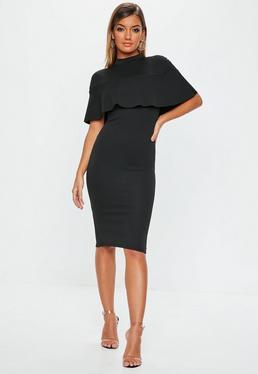 c9c8b5908fd Black Frill Overlay Midi Dress