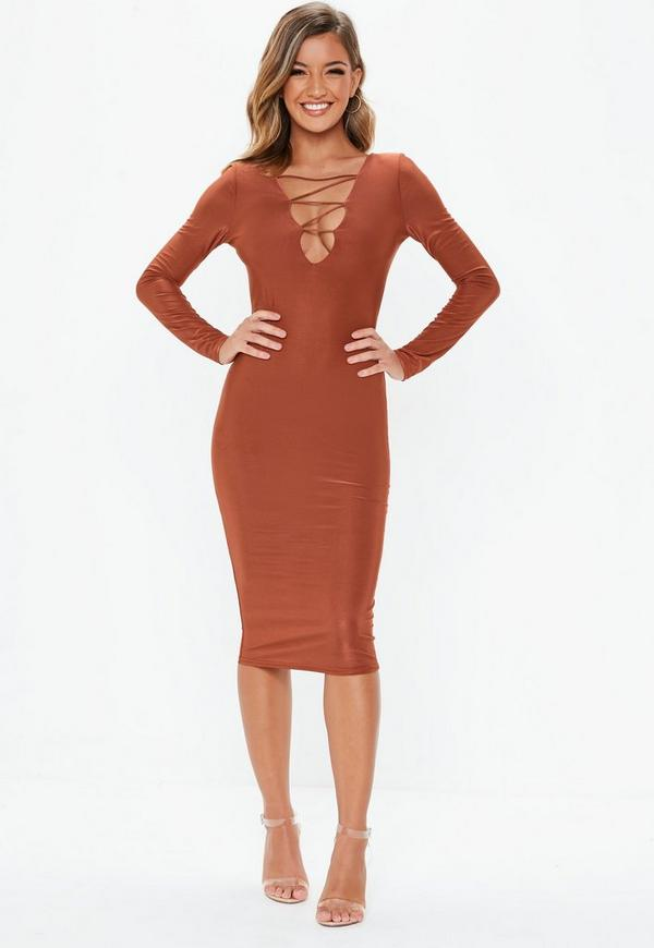 c22d3fb048c7 Rust Slinky Lace Up Long Sleeve Midi Dress