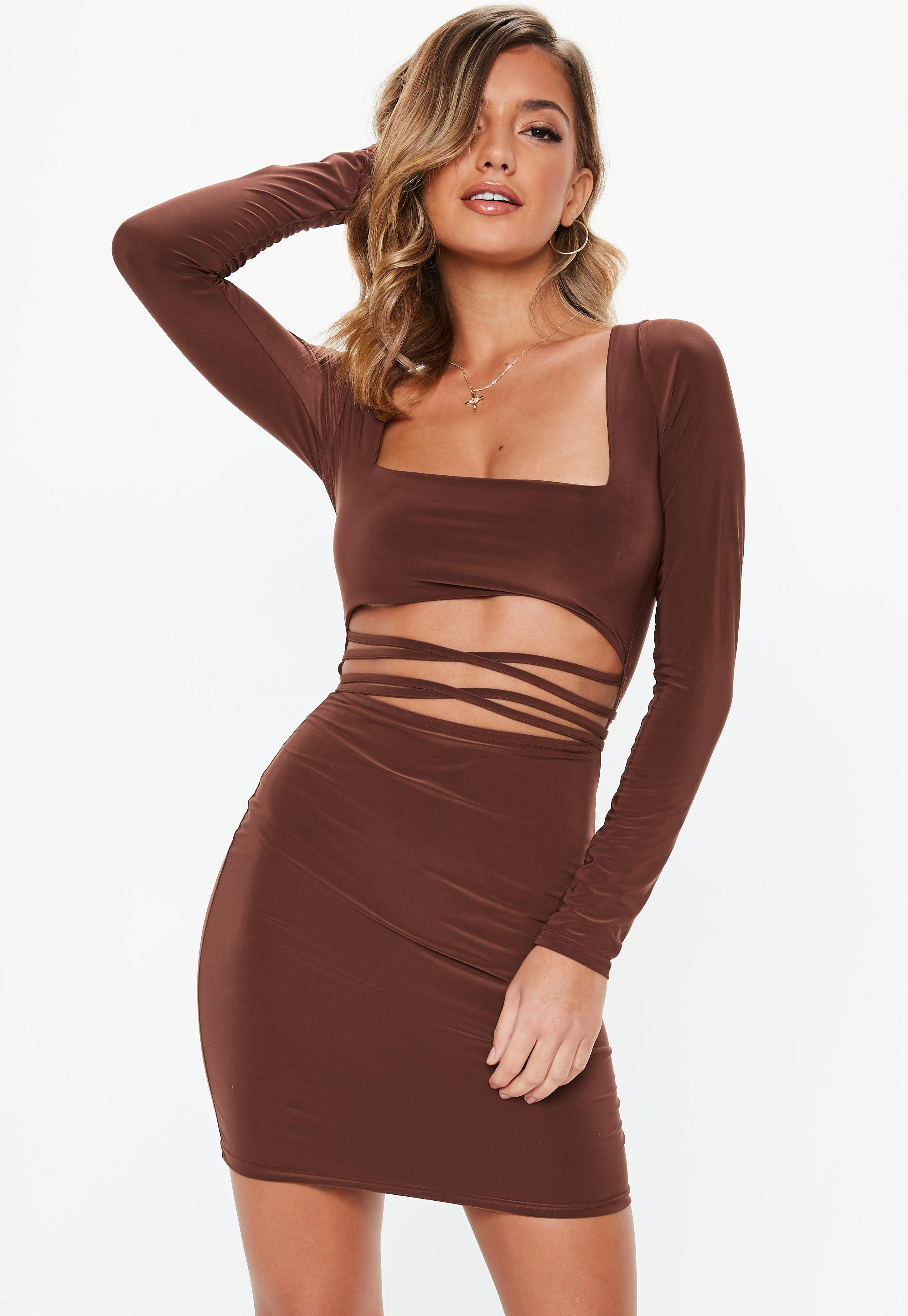 274940c8878b Chocolate Slinky Cut Out Bodycon Mini Dress | Missguided Australia