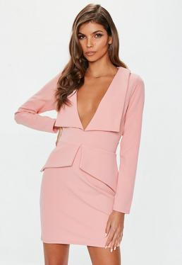 eb4b049408 Rose Tailored Collar Plunge Mini Dress