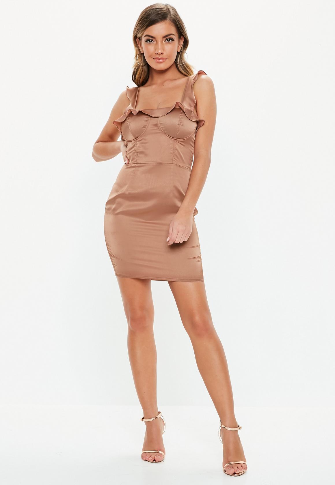 Missguided - robe courte en satin  à volants - 2