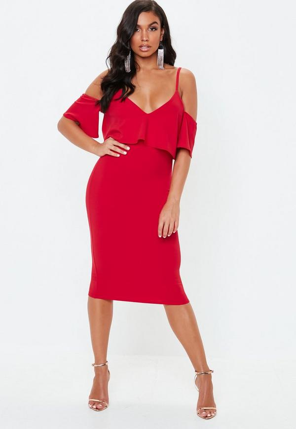 d60a7836 Red Frill Cold Shoulder Midi Dress | Missguided Australia
