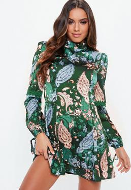 ... Green Forest Floral Satin Skater Dress 8af2f404c