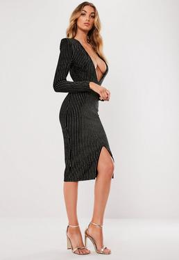Black Metallic Stripe Plunge Dress