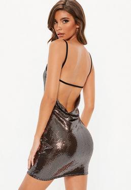copper sequin disc cowl back mini dress