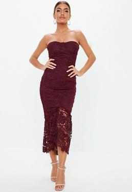 609aa402ec Burgundy Lace Bandeau Bust Cup Midi Dress