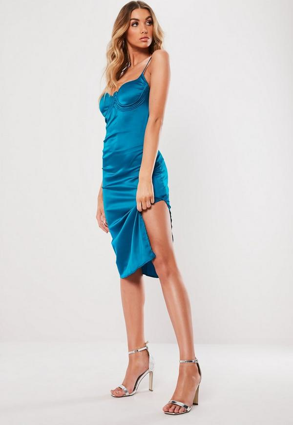 Teal Satin Bust Cup Midi Dress Missguided