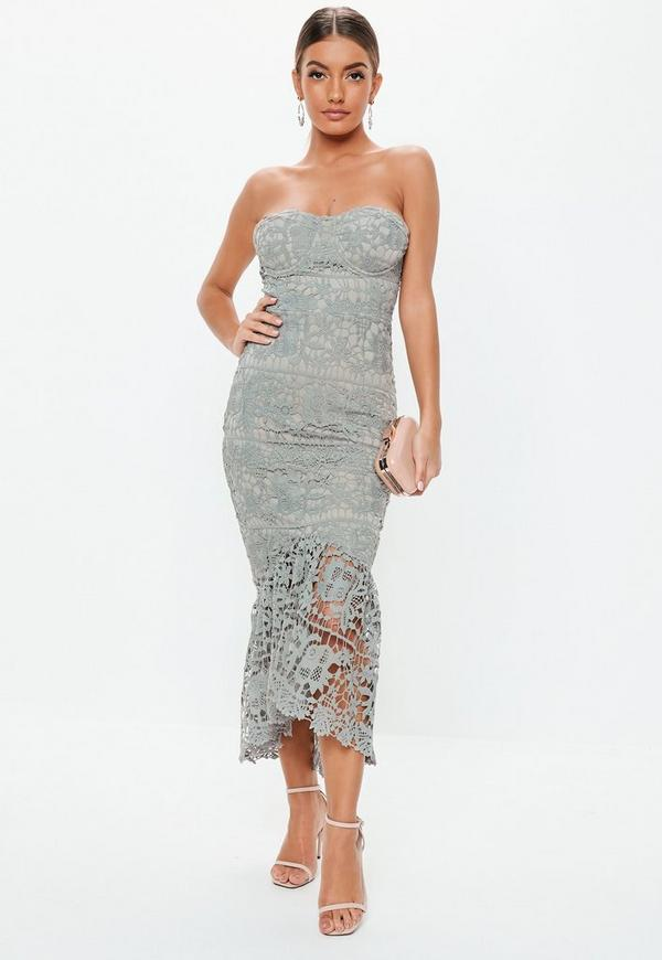 0d1dff835aed grey lace bandeau bust cup midi dress. $100.00. blush floral lace wrap front  ...