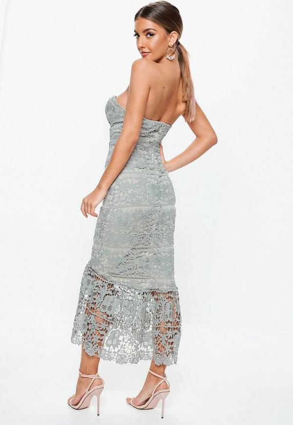 2c3bb584dc Grey Lace Bandeau Bust Cup Midi Dress. Previous Next