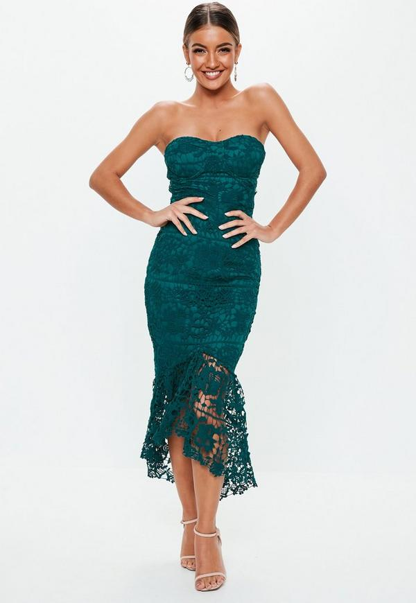 Teal Lace Bandeau Bust Cup Midi Dress Missguided Ireland
