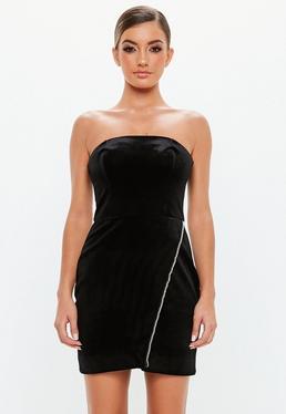 5a097aa1ed40 ... Peace + Love Black Velvet Bandeau Mini Dress