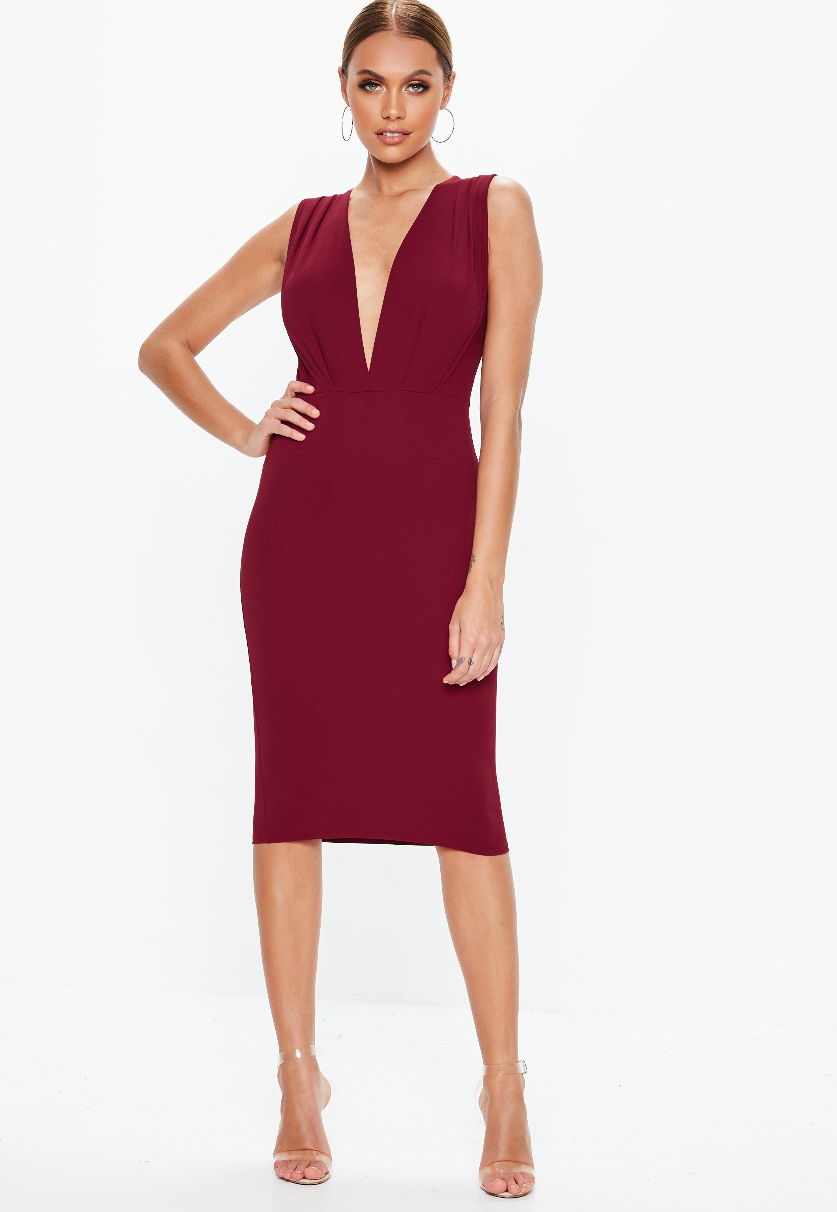 Burgundy Plunge Gathered Midi Dress  909dcab54