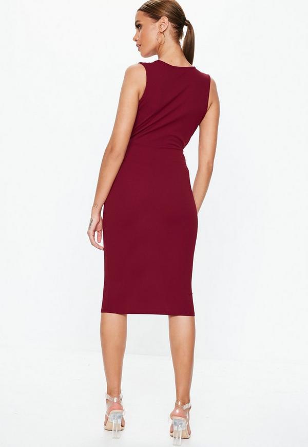 Burgundy Plunge Gathered Midi Dress. Previous Next 2e1ddba9d