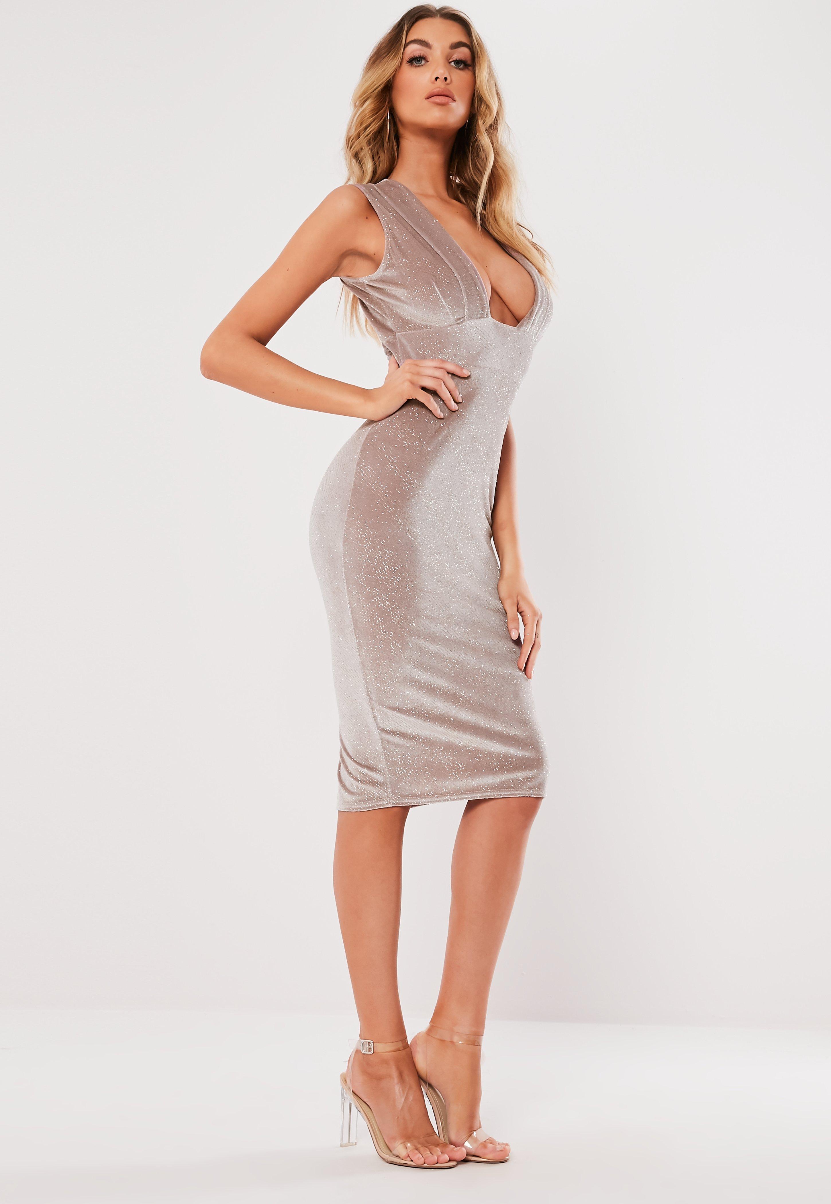4e3dd54c4ea1 Pink Velvet Glitter Plunge Bodycon Midi Dress | Missguided Australia