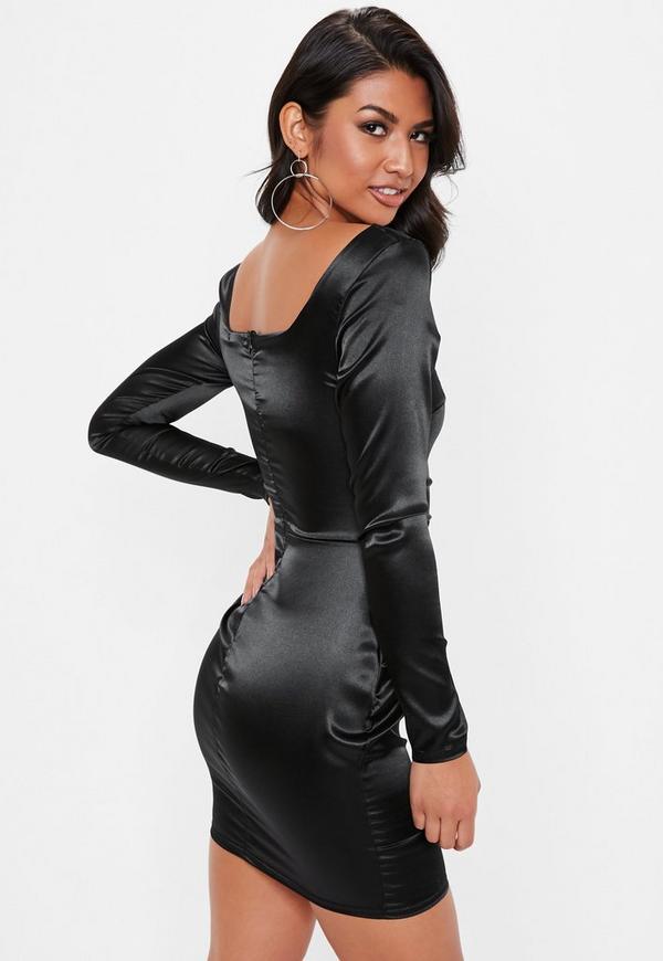Black Satin Square Neck Mini Dress Missguided