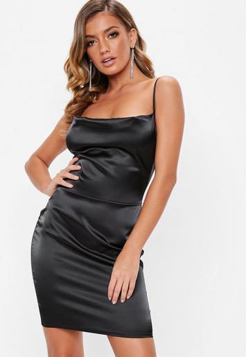Black Satin Cowl Front Mini Dress Missguided