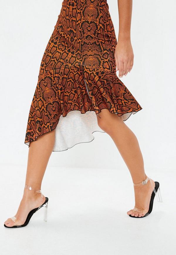 f979fb09886 ... Rust Animal Print Cami Frill Hem Midi Dress. Previous Next