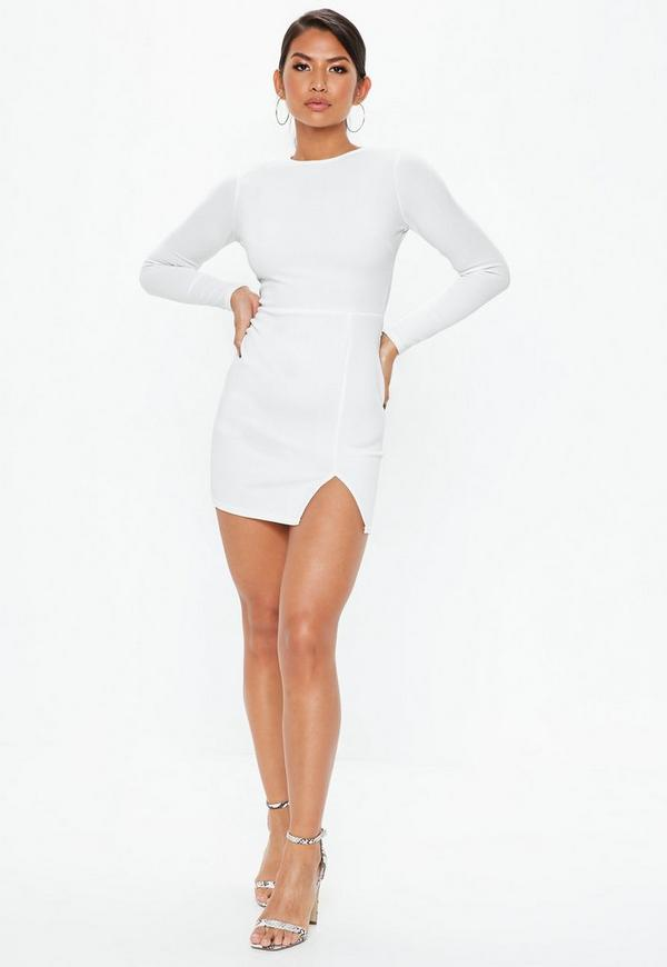 Bodycon yogurt white dress long sleeve couture tracksuit ebay