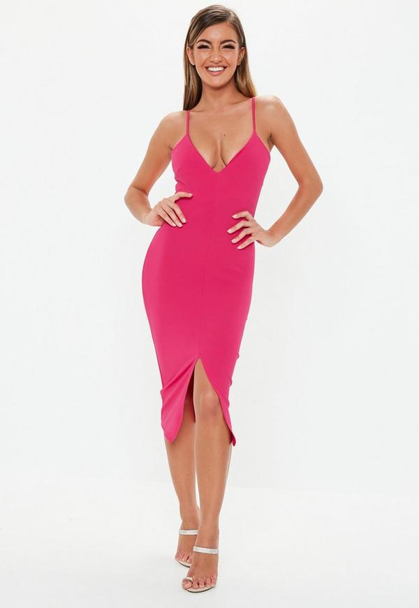 ... Dresses    Pink Scuba Plunge Split Front Midi Dress. Previous Next c6e8402ed