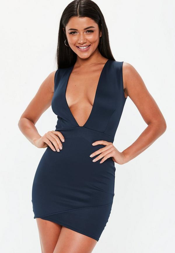41bb243463 Navy Scuba Plunge Bodycon Dress