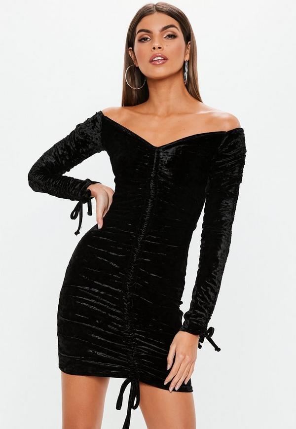 Black Crushed Velvet Bardot Mini Dress Missguided