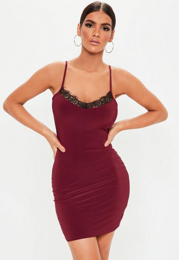 Burgundy Strappy Lace Insert Bodycon Dress Missguided
