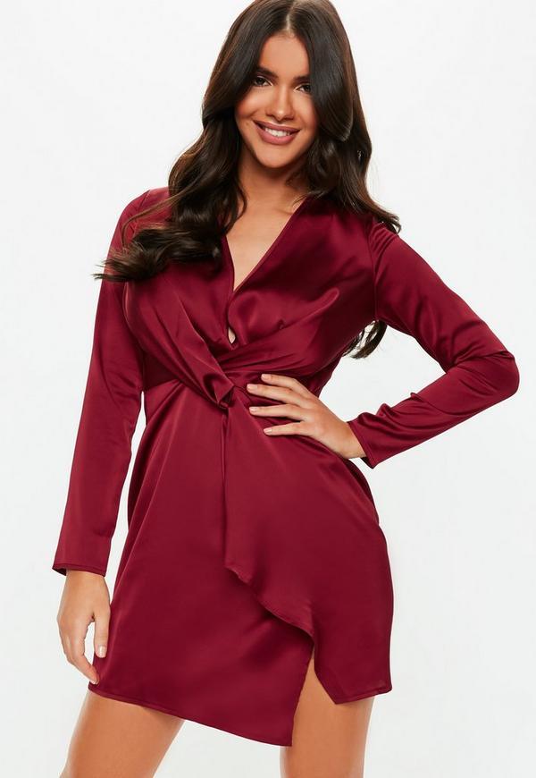 8f7ba52d38 ... Burgundy Silky Plunge Wrap Shift Dress. Previous Next
