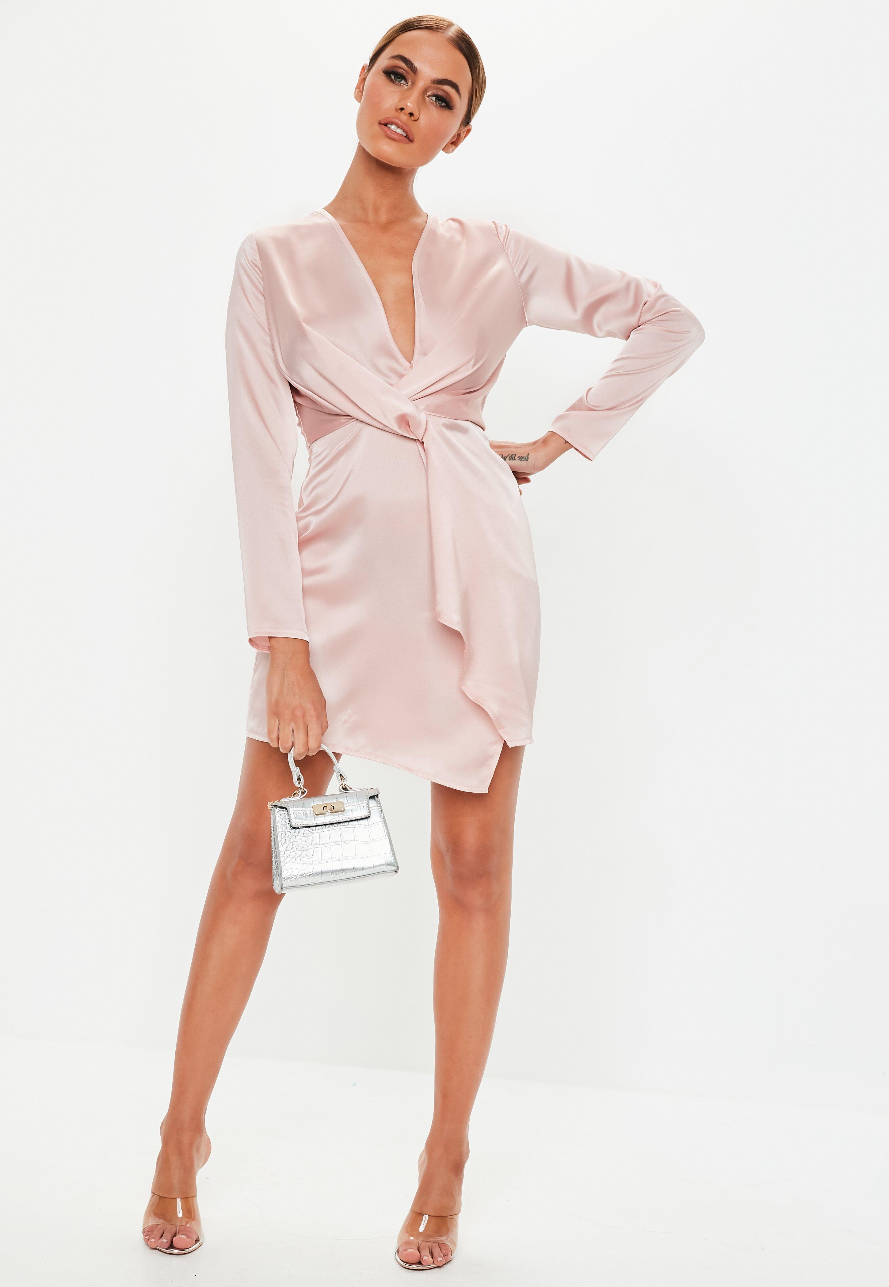 9b44be909c9 Rose Pink Silky Plunge Wrap Shift Dress