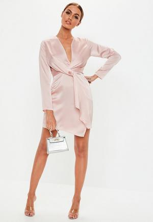 f223d83131 £25.00. rose pink silky plunge wrap shift dress