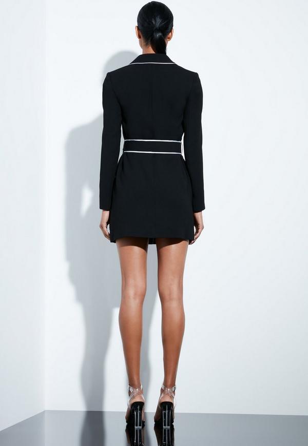 Peace Love Black Contrast Binding Blazer Dress Missguided