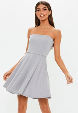 9023ee8f6e Grey Scuba Bandeau Skater Dress Grey Scuba Bandeau Skater Dress