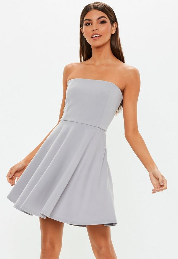 Grey Scuba Bandeau Skater Dress by Missguided