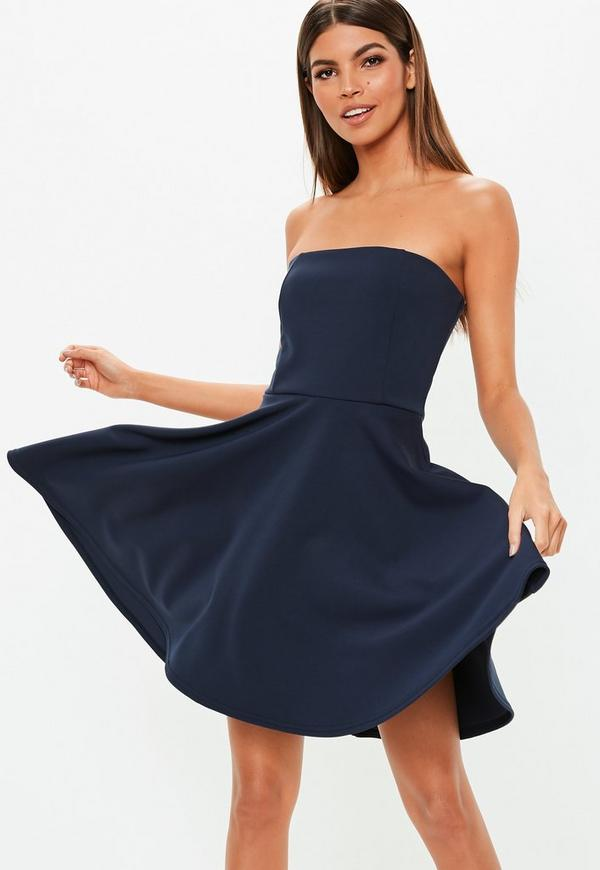 Navy Scuba Bandeau Skater Dress  a0d754814