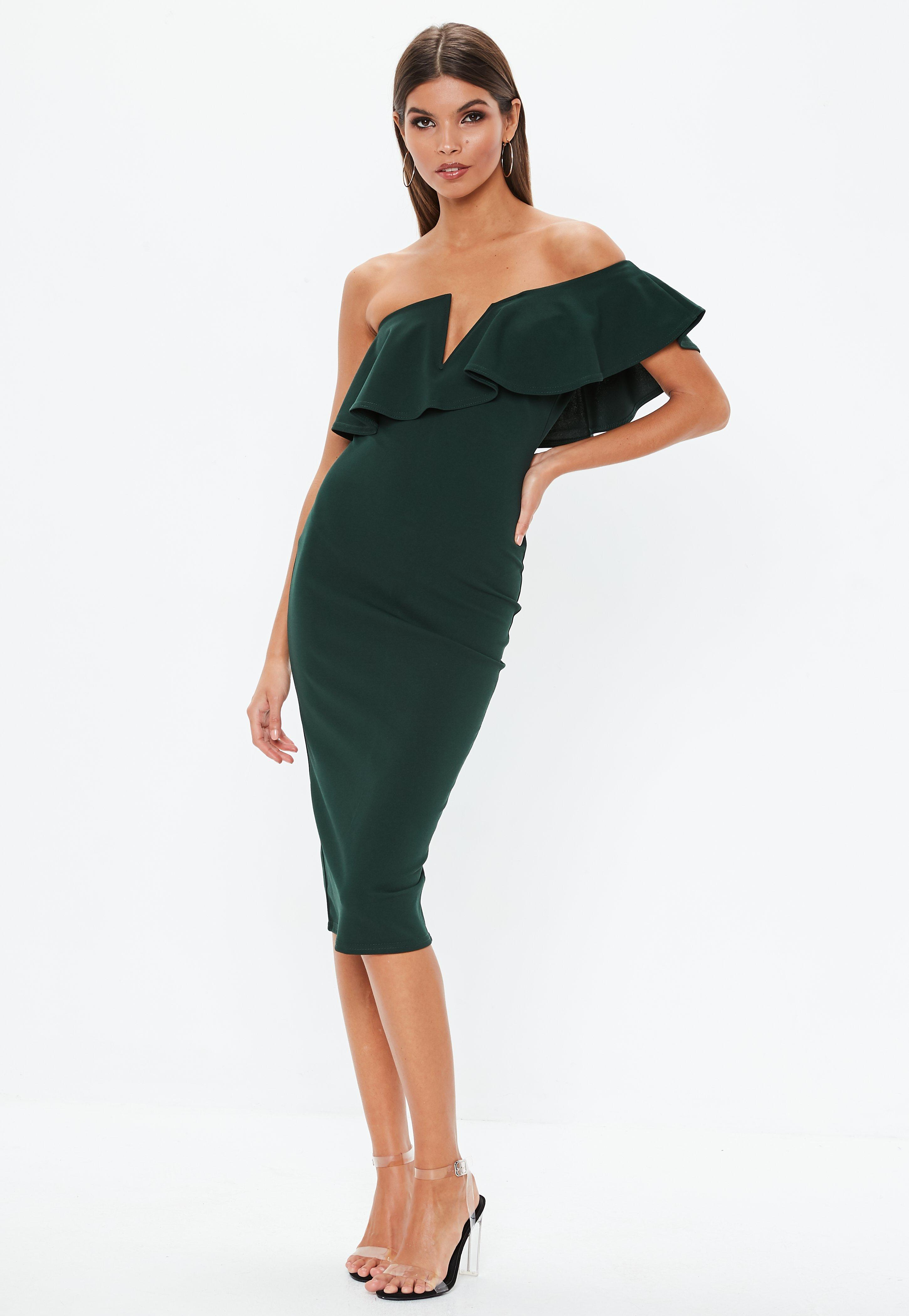 9d3beef3a0f5 Forest Green Off Shoulder Frill Midi Dress