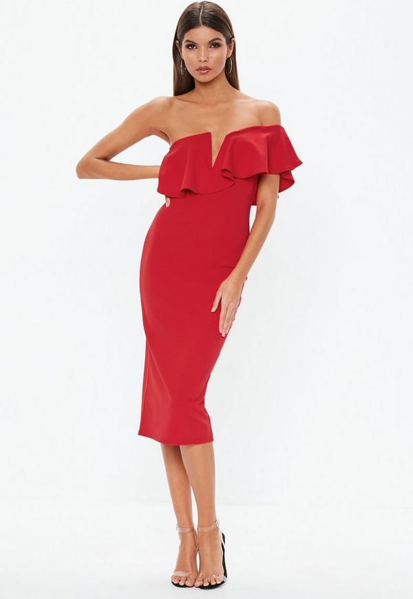 1c594023092f Red Off Shoulder Frill Midi Dress