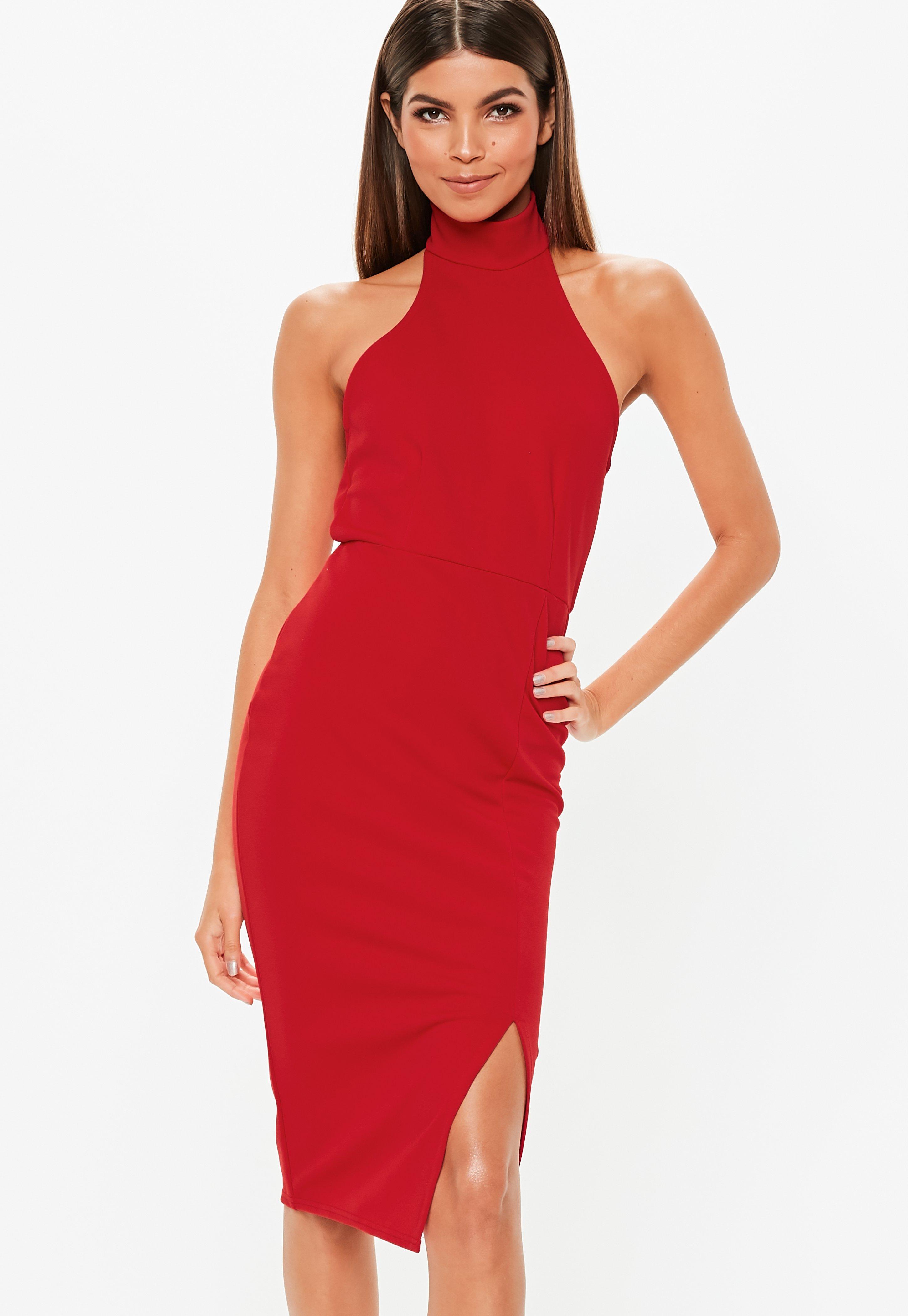 b54868067f Czerwona sukienka midi z chokerem