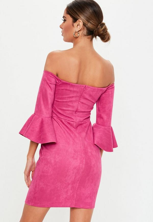 4ed816c3c41 Pink Faux Suede Bardot Mini Dress