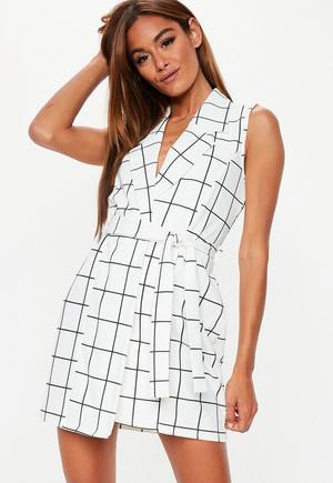 d639b708f95 White Sleeveless Stretch Crepe Blazer Dress